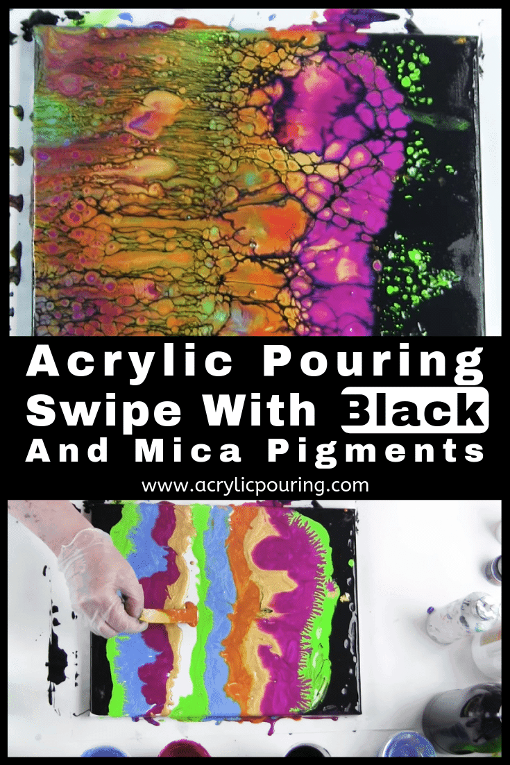 Acrylic Pouring Swipe With Black and Mica Pigments