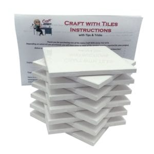 Set of 12 Ceramic White Tiles 4x4