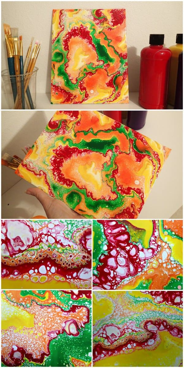 Acrylic pouring puddle pours with citrus colors - video tutorial