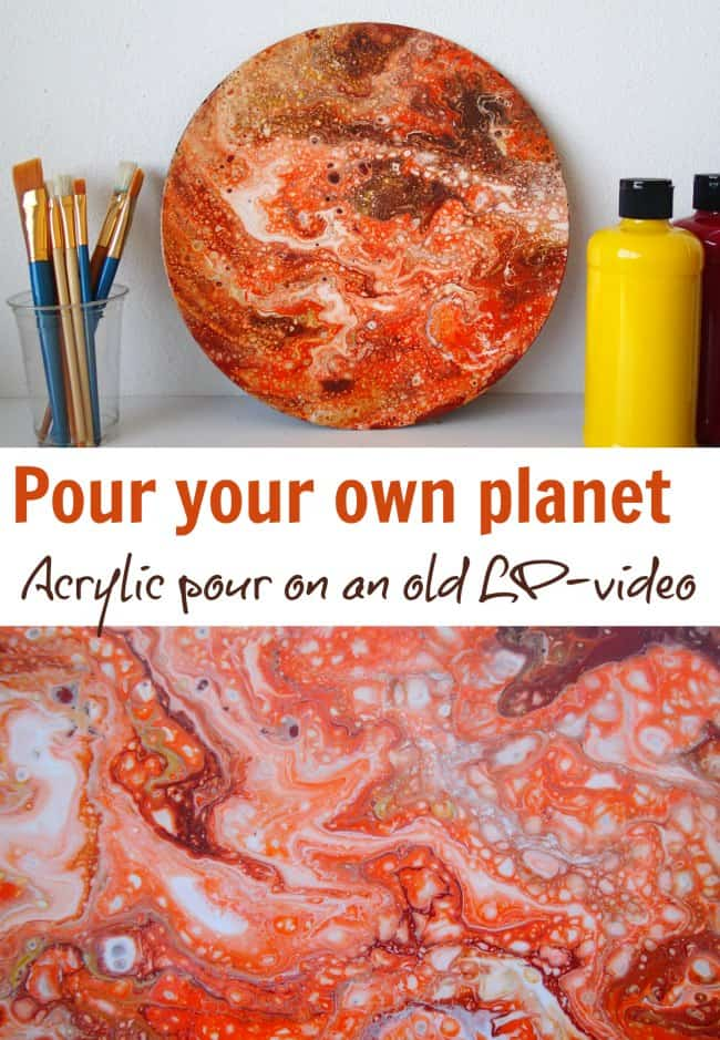 How to paint a planet on an old LP vinyl record with acrylic pouring - video tutorial