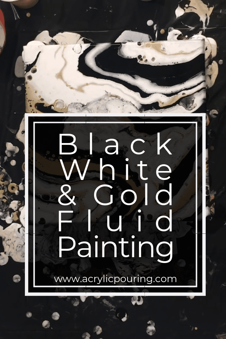 Black, White and Gold Fluid Painting