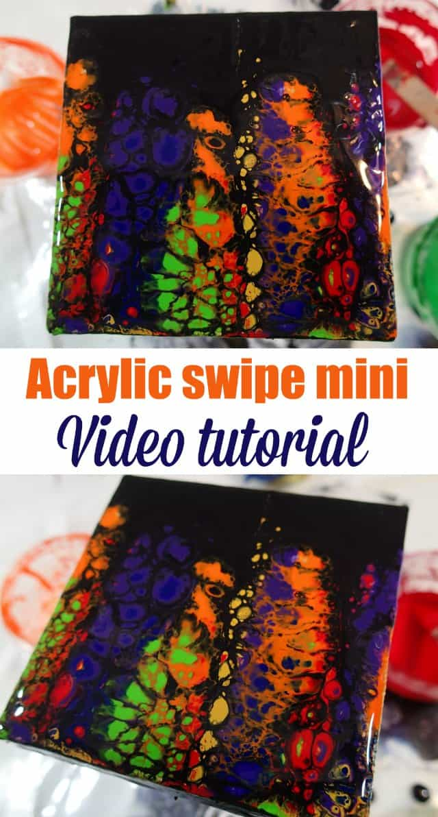 Acrylic swipe with black, acrylic pouring. Video tutorial for how to create cells with swiping acrylic paints.