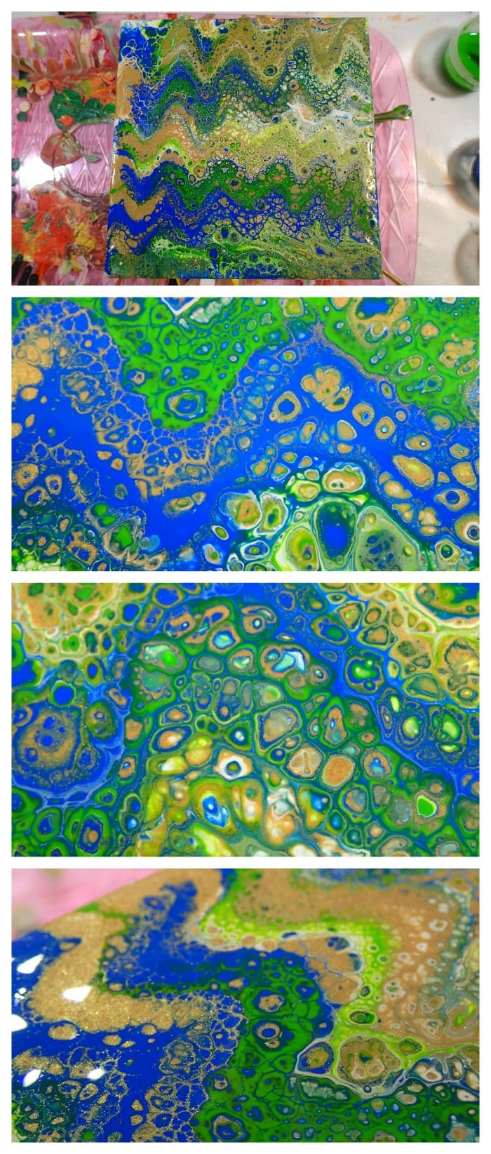 Learn how to swipe and create gorgeous cells in acrylic pouring painting, fluid acrylics. Video tutorial.