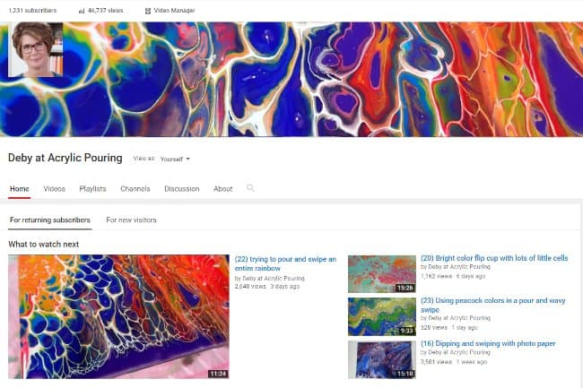 Best YouTube painting channels to follow. These acrylic pouring channels are so much fun to watch and educational too. Lots of variety in styles and content.