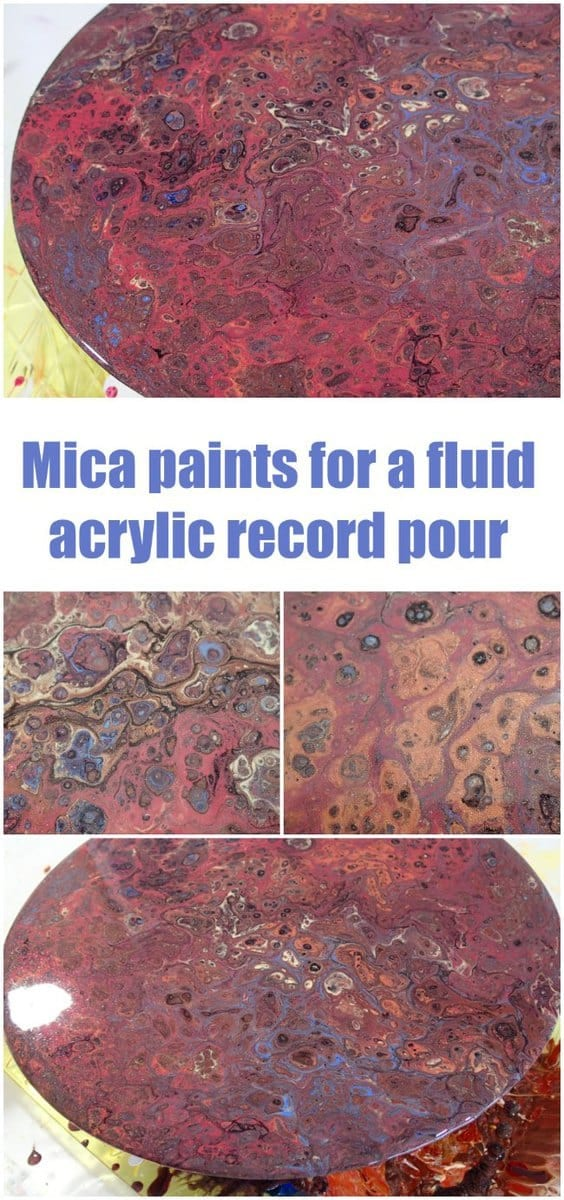 Acrylic pouring video tutorial using mica pigment paints on an old vinyl LP record.