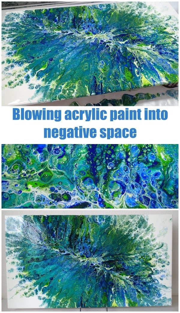 Acrylic painting video. Pouring and blowing acrylic paint with a straw.