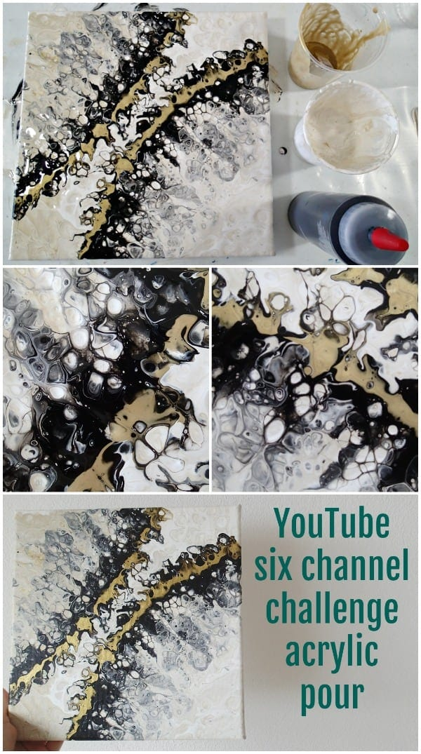 Acrylic pouring and blowing the paint video. Six channel YouTube acrylic painting challenge videos using only black, white and one metallic.
