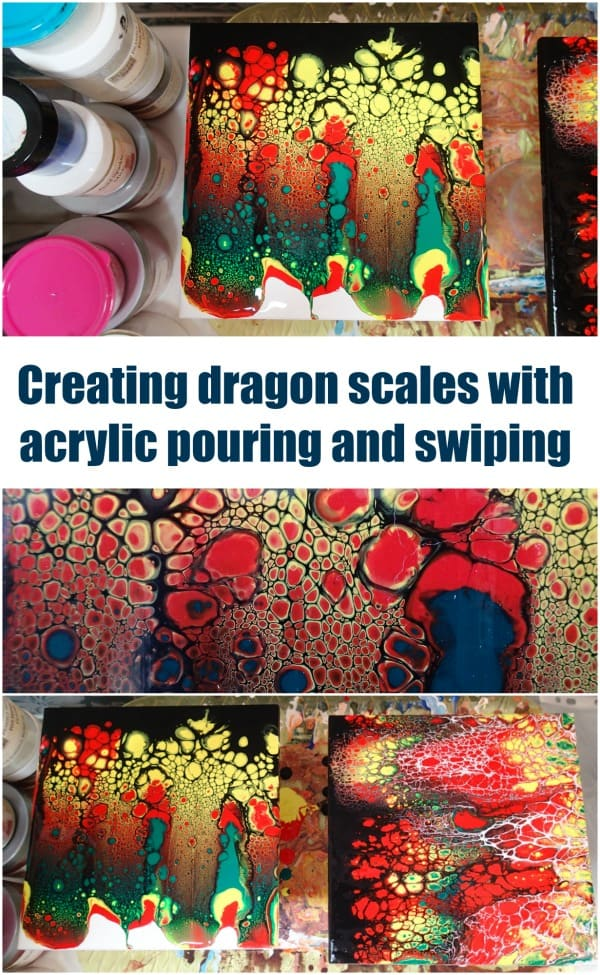 Awesome 'dragon scales' acrylic painting using the pour and swipe method. Video shows you how to create this yourself with acrylic paints.