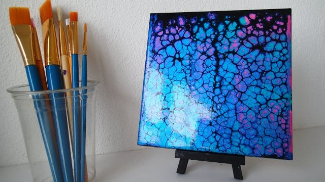 Black swipe using pink and blue iridescent paints - video tutorial