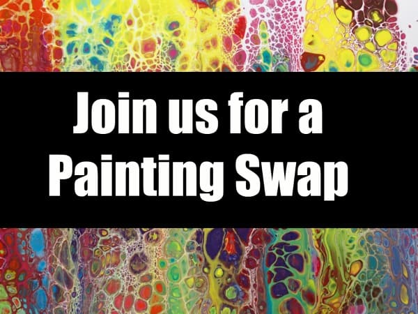 Painting swap event for acrylic pouring painters.