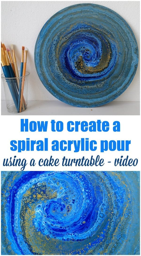 Video shows how to create a spiral acrylic pour painting. Technique can be used on round, square or any shaped canvas. This one was on an old LP record