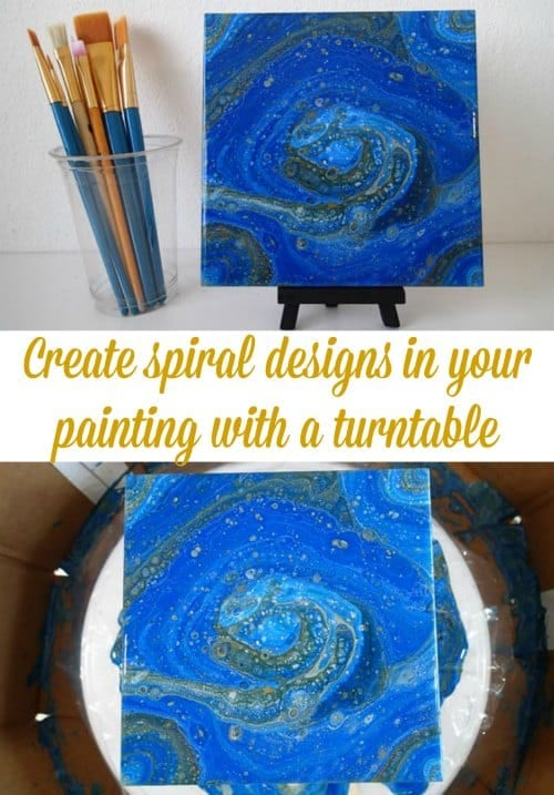 Spinning A Tile In Blues And Yellow Acrylicpouring Com