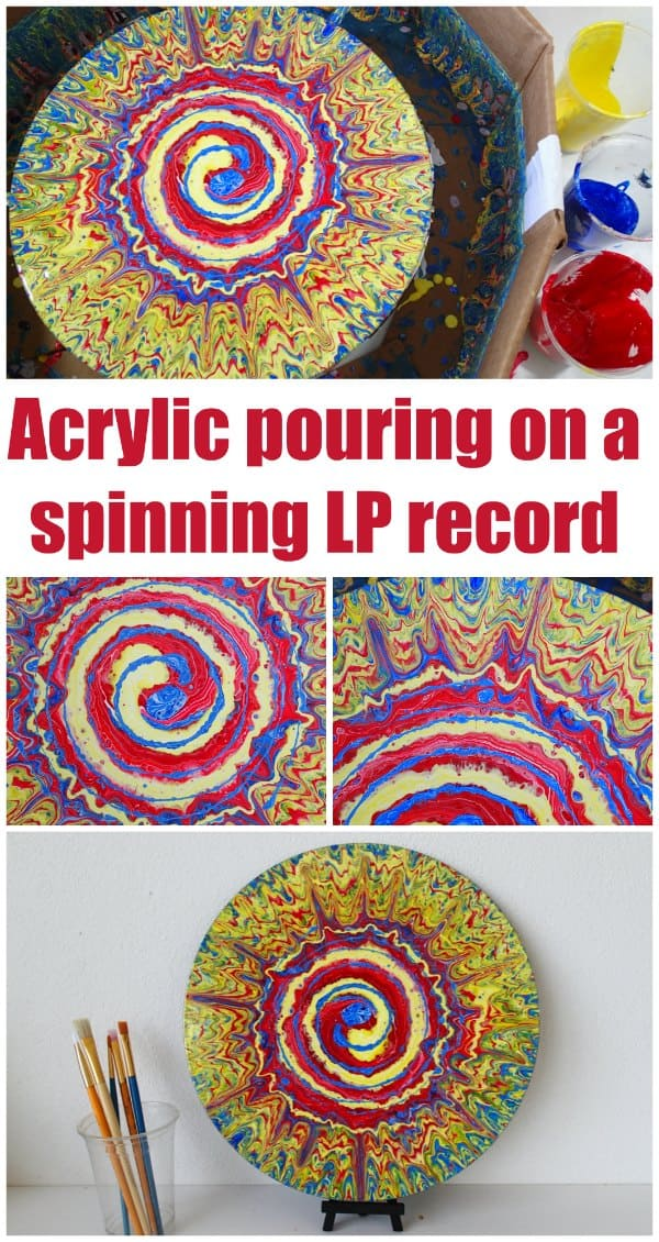 Acrylic pouring a spiral on a spinning [easyazon_link identifier=