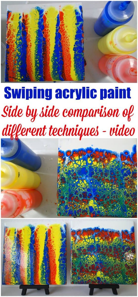 Acrylic pouring and swiping. Two different techniques for swiping acrylic paint compared side by side in this video tutorial.
