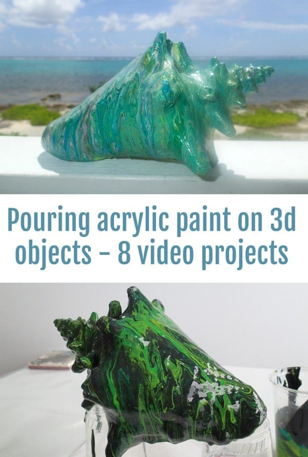 Acrylic pouring paint on 3d objects. 8 fun and different video projects. Fluid acrylic poured paintings.