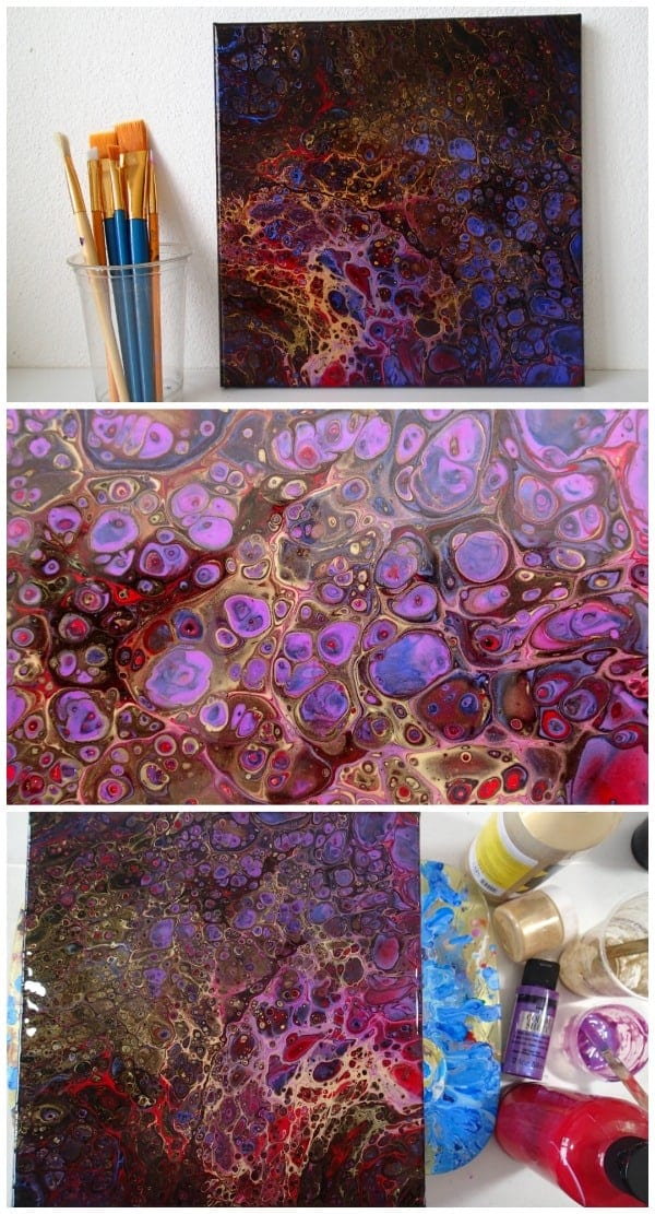 Creating cells in an acrylic flip cup pour painting without torching. Video uses color shift paints to create a fluid acrylic painting.