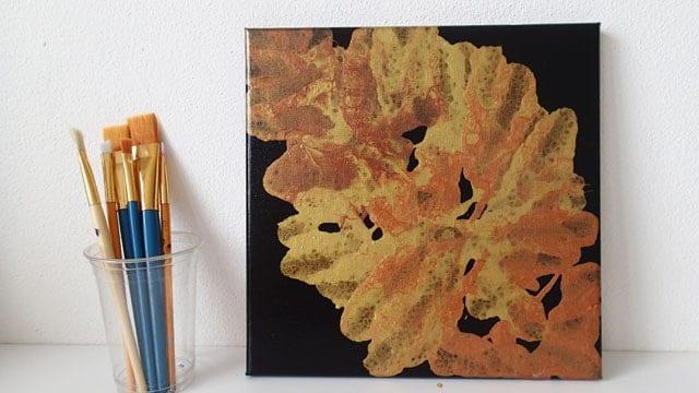 Falling Leaves Metallic Negative Space Acrylic Pour