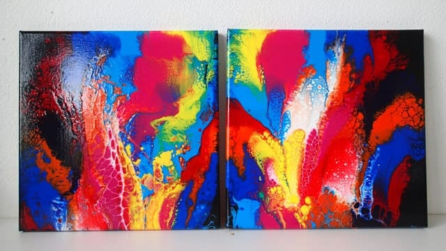 How to create matching paintings with acrylic pouring and fluid acrylics - video tutorial.