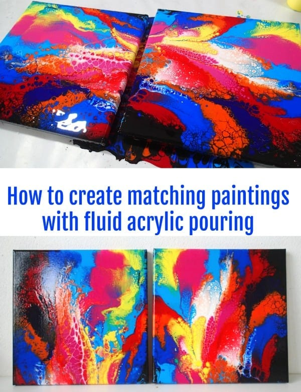 Video tutorial for fluid acrylic pouring. How to make two matching paints that are a mirror image of each other in all 4 directions.