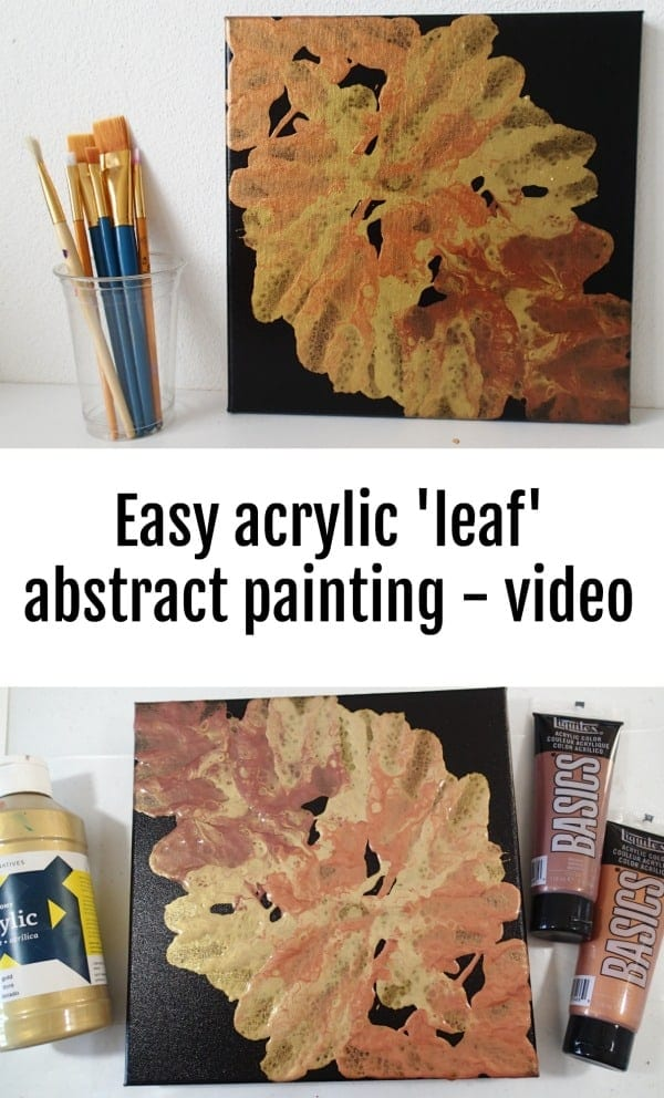 Video. How to create an easy abstract Fall or leaf painting using acrylics paints in metallic colors and blowing the paint. Tutorial.