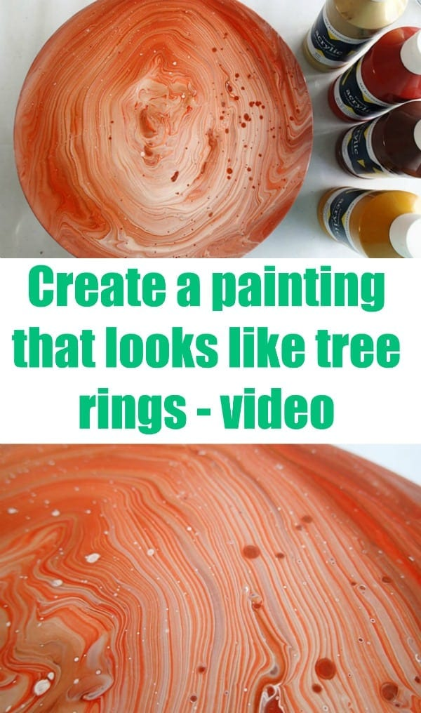 Acrylic pouring swirl or tree ring technique. Create a painting that looks like a slice of wood. Video tutorial