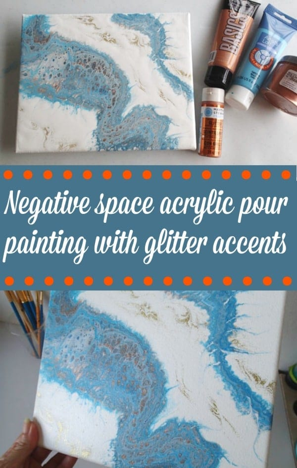 Turquoise And Copper Negative Space Dirty Pour
