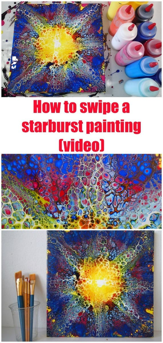 Video tutorial and demo for how to swipe poured acrylic paints to create this starburst swipe painting. Fluid acrylics video tutorial.