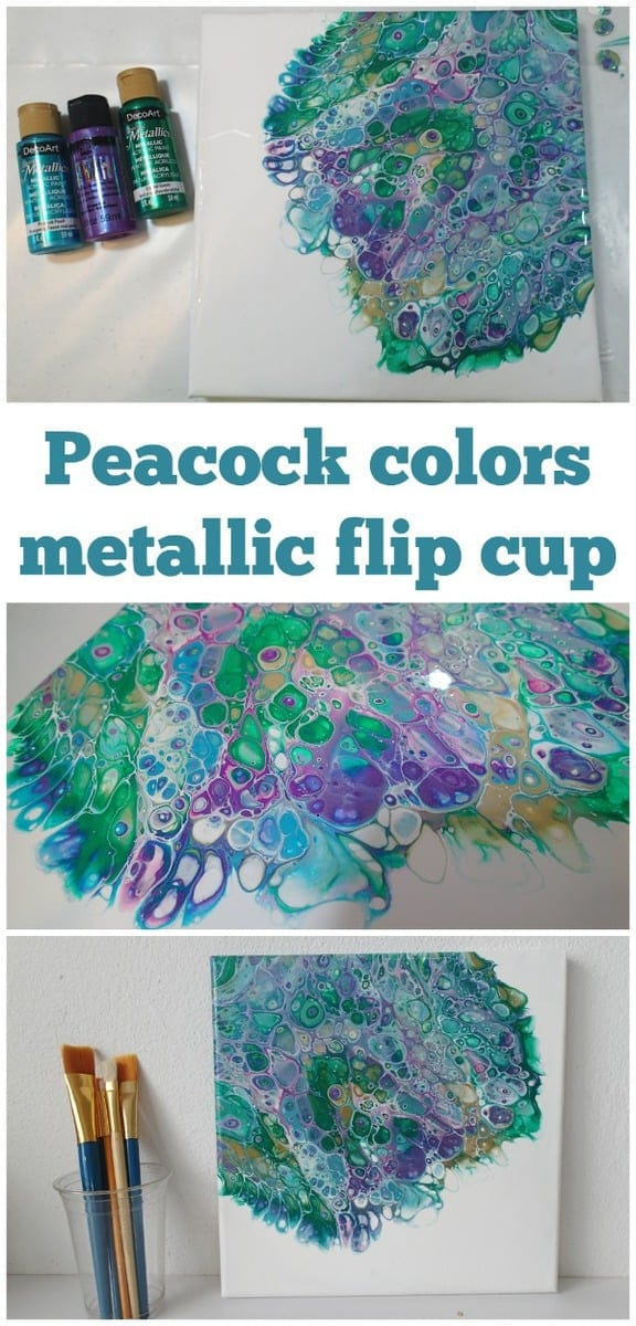 Video tutorial. Acrylic pouring flip cup painting using peacock feather color scheme. How to turn a color scheme into a painting - demonstration