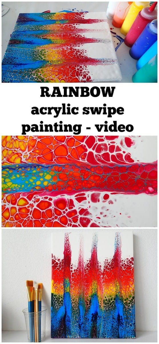 Video tutorial. How to make a rainbow swipe painting with acrylic paints and create cells in your painting. Video tutorial and demonstration. Acrylic pouring or fluid acrylics