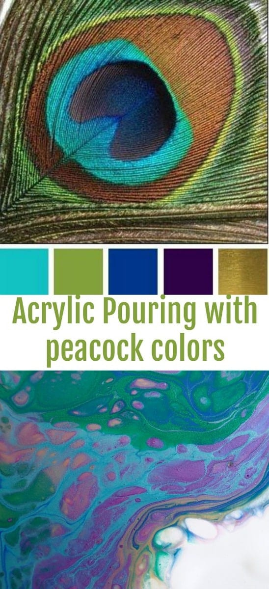 Acrylic pouring a flip cup painting with peacock colors
