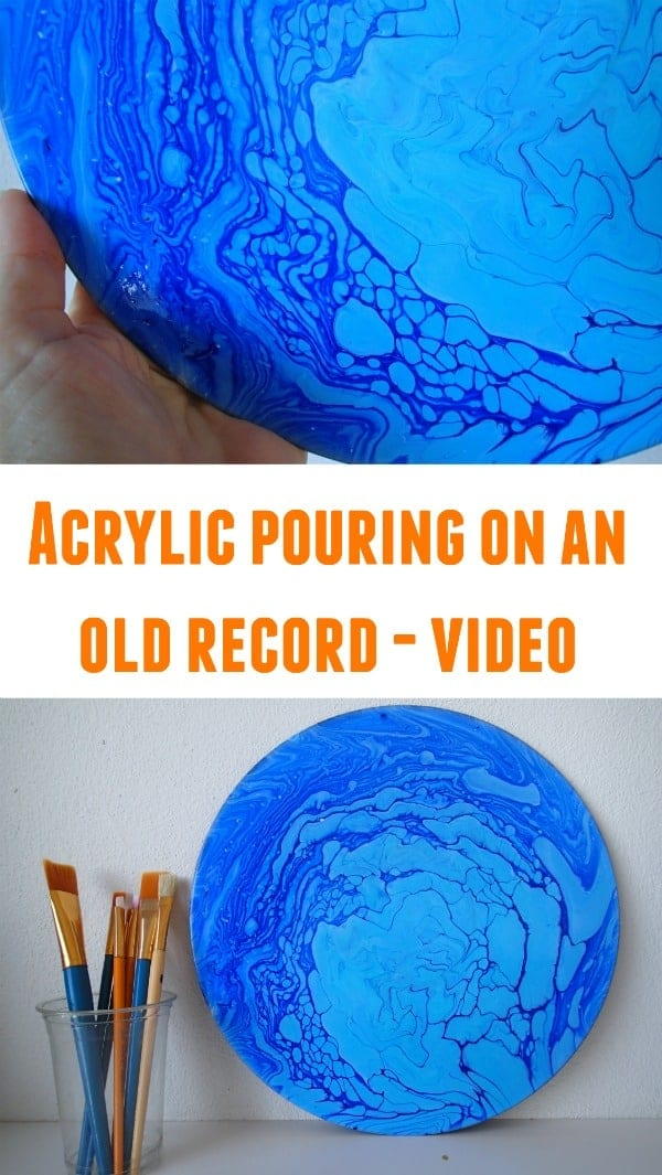 Acrylic pouring tree ring swirl technique on an old vinyl record. This one created cells with no silicone and made it look like an ice flow or glacier.