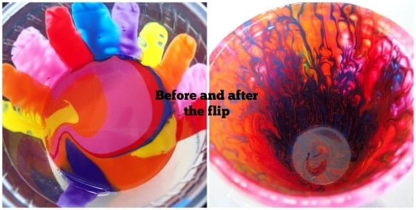 Bright colors acrylic flip cup. Before and after the flip.