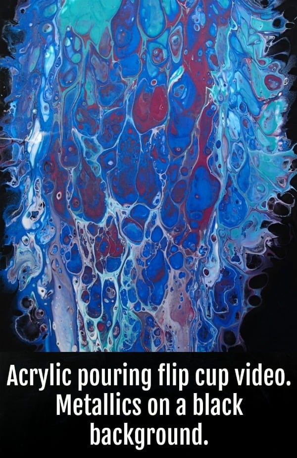 Metallics acrylic pour fluid art painting video. Bright metallic paints create cells against a black negative space background, video demonstration