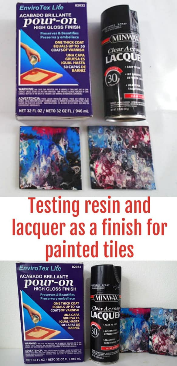 Testing and reviewing Envirotex Lite resin and Minwax Clear Aerosol Lacquer to see how they perform used on painted tiles for use as coasters. Video demo and review.