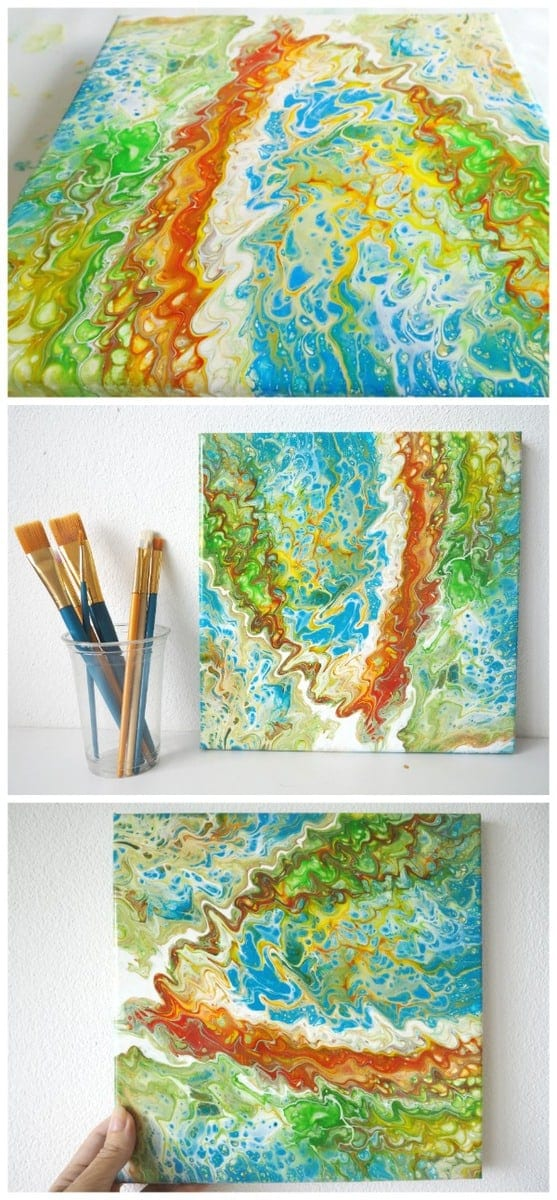 Acrylic poured painting. This painting started life as a multicup flip, but you'll be amazed at how far you can stretch out the paints! One quardrant of the painting was picked and stretched to cover the canvas