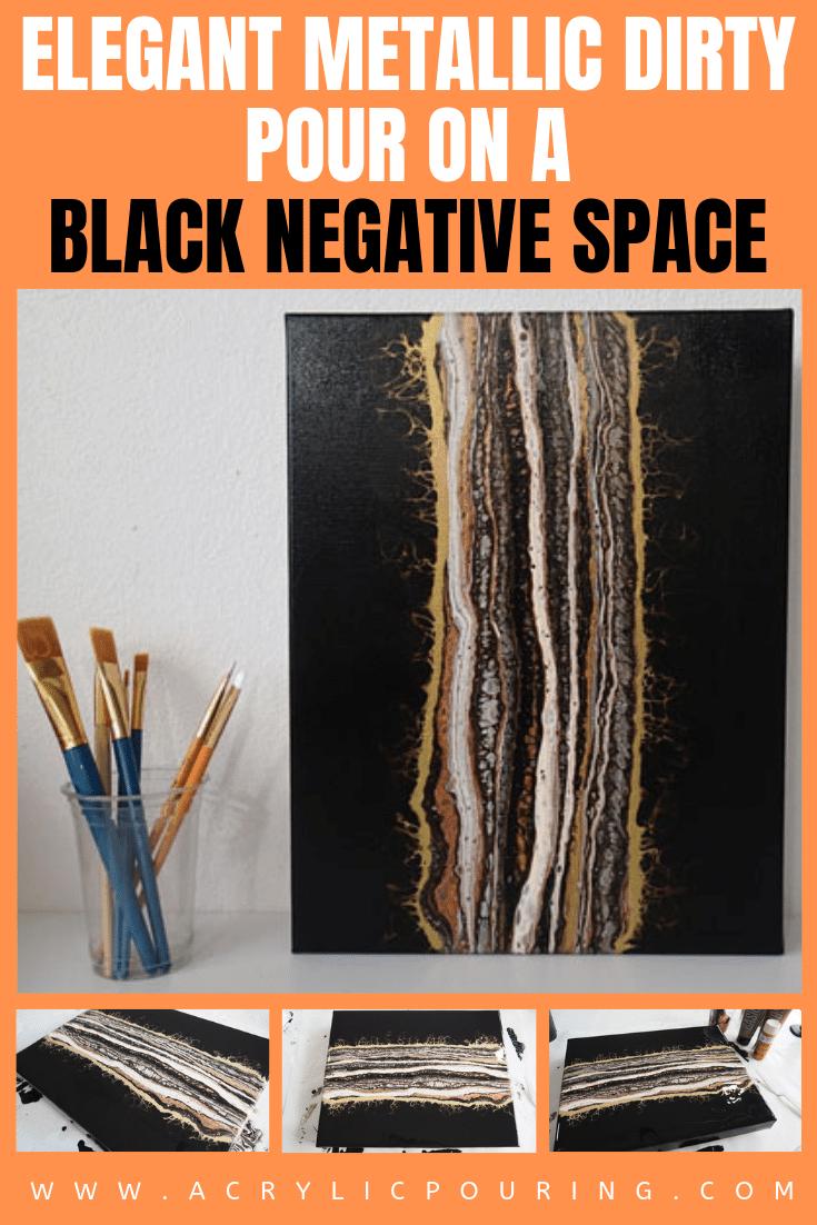 Elegant Metallic Dirty Pour on a Black Negative Space