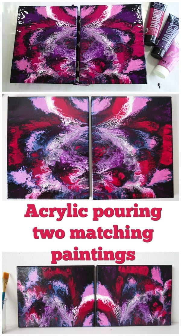 How to make two near identical matching paintings with acrylic pouring 'dipping' or butterfly technique. Video tutorial.