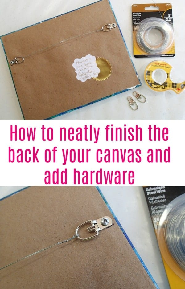 How to neatly finish the back of your canvas with a dust cover, an identification label or certificate of authenticity, and hanging hardware