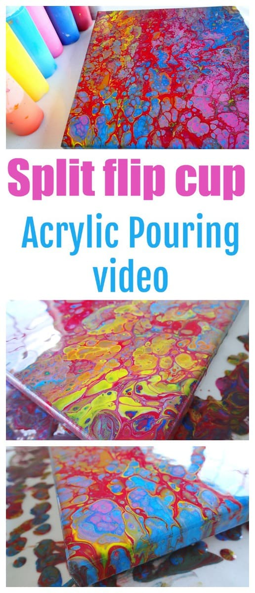 Split flip cup acrylic pouring video with different colors on each side of the cup.