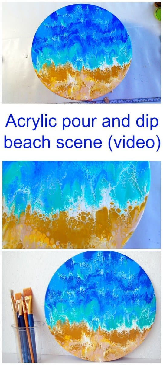 Easy painting for beginners. How to pour and dip this acrylic beach and ocean scene using a ziploc bag! Really easy, video tutorial for beginner painters.