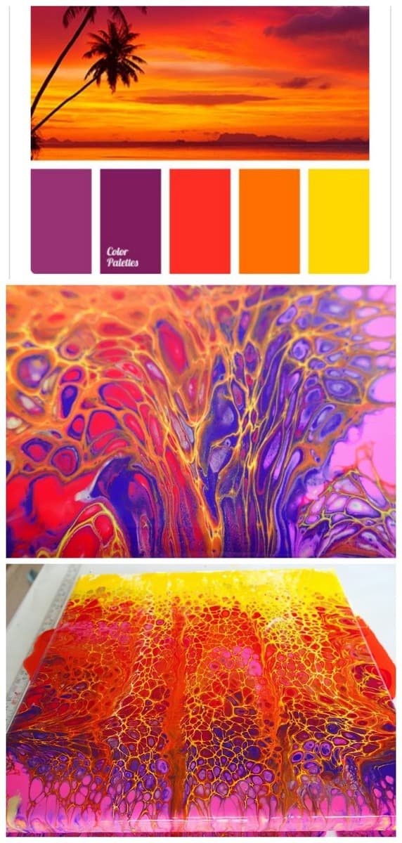 Paint A Sunset Scene With Acrylic Pouring Swipe Technique