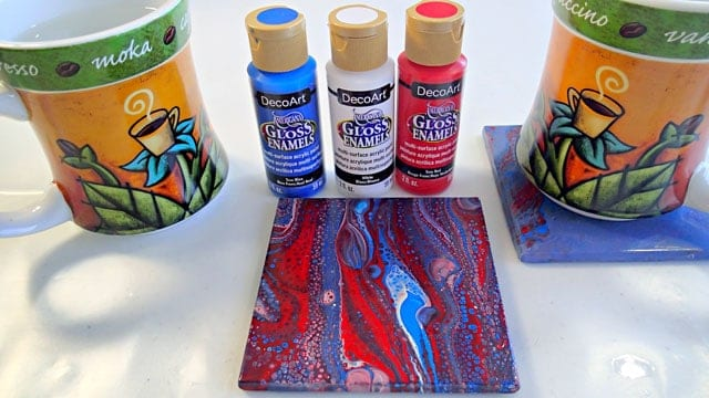 Testing DecoArt Gloss Enamels for acrylic pouring on ceramic tiles. Will they cells Will they stick to a hot coffee mug