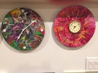 using records for acrylic pouring - clocks on wall