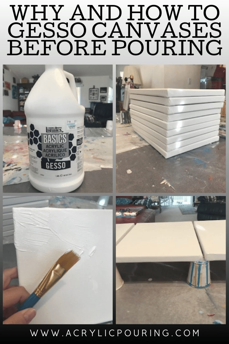Understand the hows and whys to gesso canvases before you start your acrylic pouring. #acrylicpouring #gessocanvanses #canvas #tips #art #acrylic #gesso