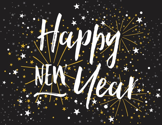 Happy New Year Card with Bold Script Lettering