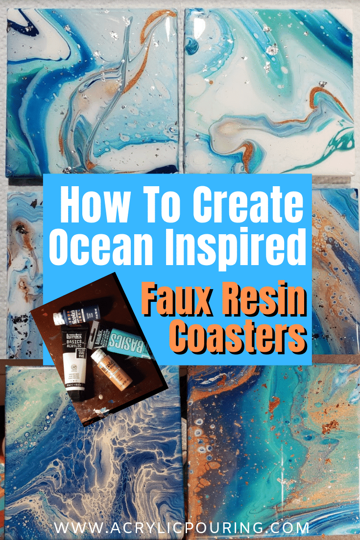 Creating Ocean Coasters with Acrylic Pours
