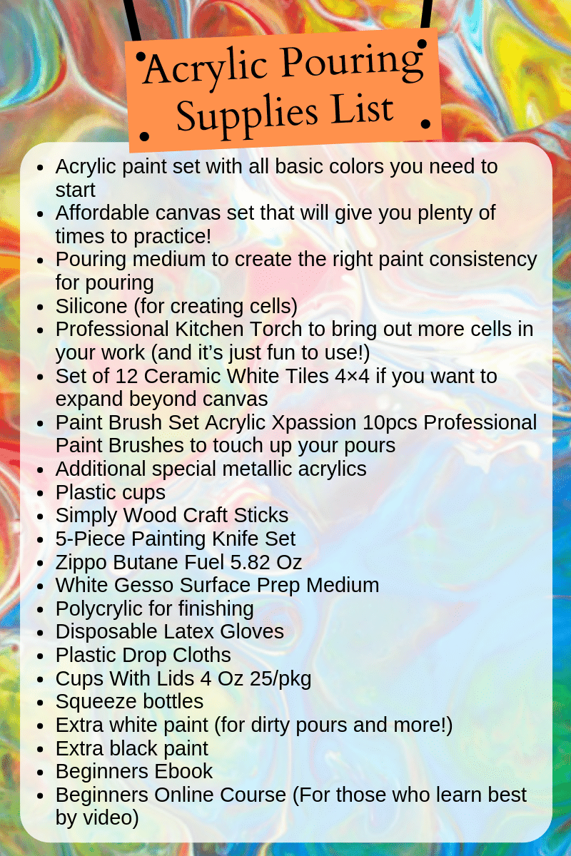 Here\'s exactly what you need to get started on your Acrylic Pouring journey! These are the essential supplies for fluid painting. #acrylic #acrylicpaintingsupplies #acrylicproducts
