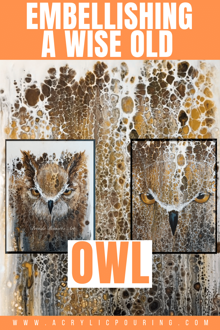 Check out how stunning this owl embellishment from a swipe pour! #acrylic #acrylicpouring #owl #wiseoldowl #artinspiration #creativity #swipe #swipepour