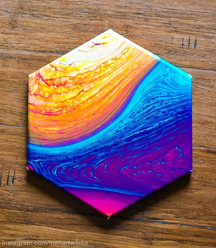 tree ring acrylic pour