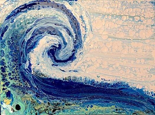 ocean acrylic pour wave